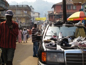 Shoe Shoes Seller Car Downtown Freetown Sierra Leone